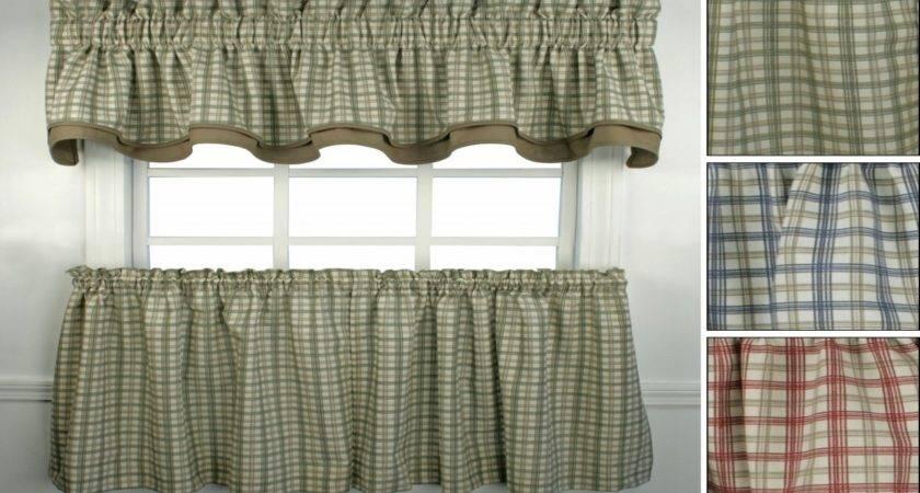 Kitchen Curtains Primitive Plaid