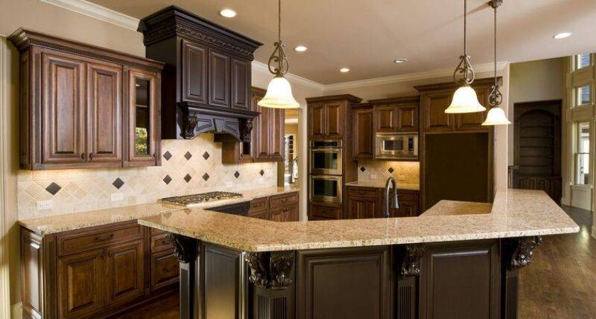 Kitchens Traditional Medium Wood Cabinets