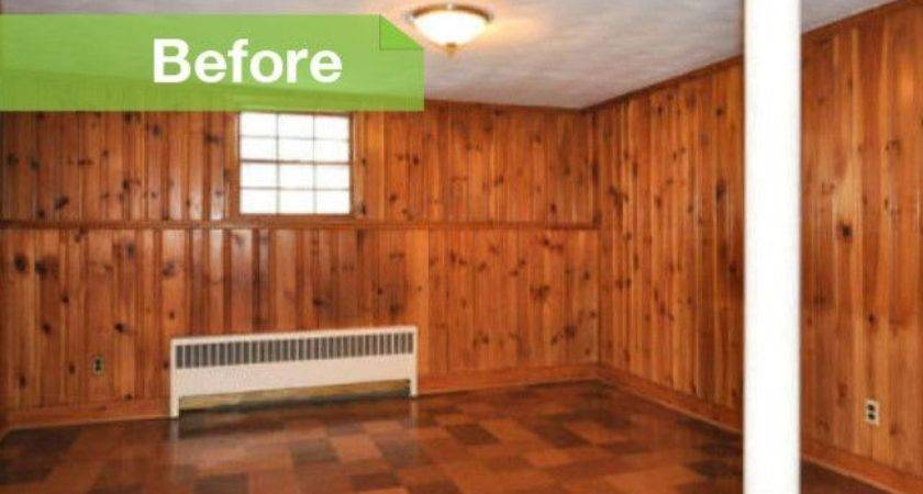 Knotty Nice Painted Wood Paneling Lightens Room Look
