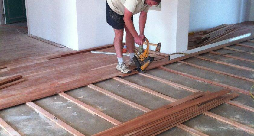 Laying Wooden Floor Concrete Morespoons