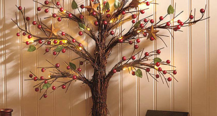 Lighted Country Wall Tree Sculpture Art Rustic Primitive