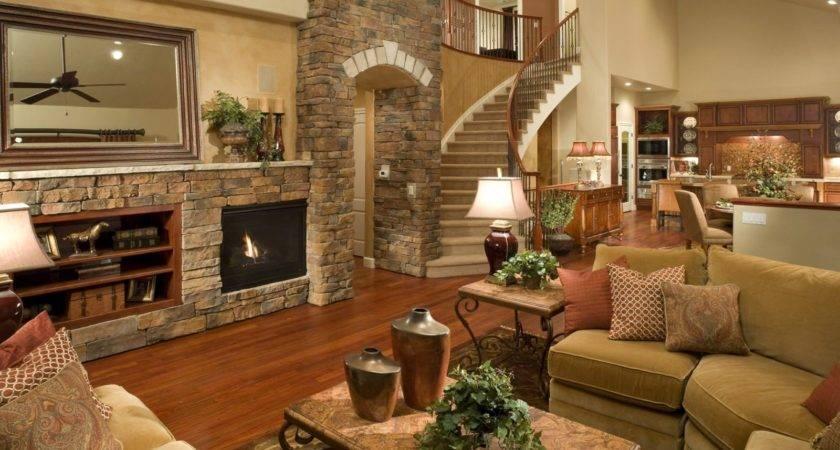 Living Room Beautiful Fireplace Flowers Home House