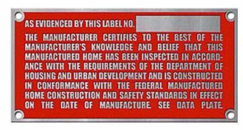 Manufactured Home Hud Labels Serial Numbers