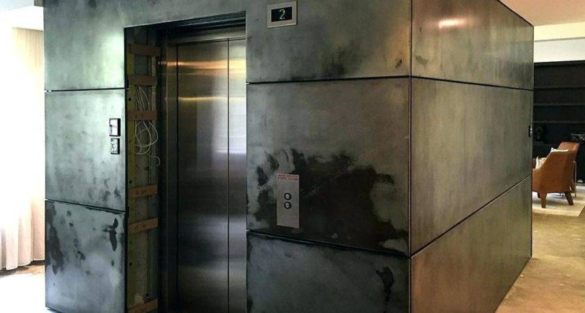 Metal Wall Covering Residential Project Private Elevator