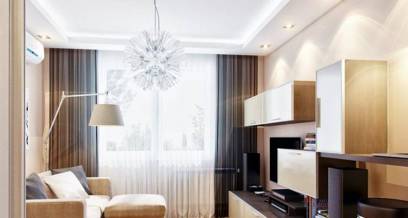 Mod Retro Brown Beige Living Room Interior