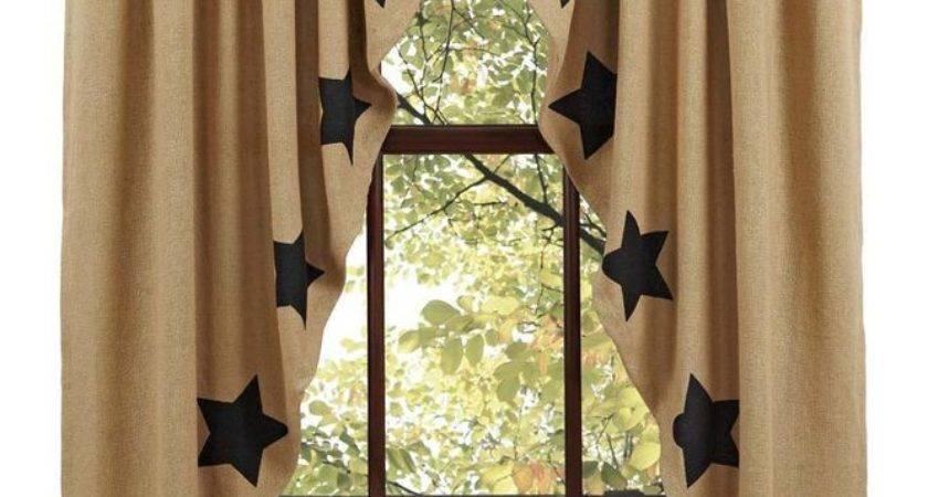 New Primitive Country Sturbridge Black Star Burlap Prairie