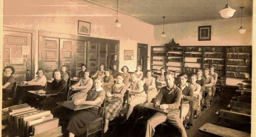 Old Vintage Antique Photograph High School Classroom