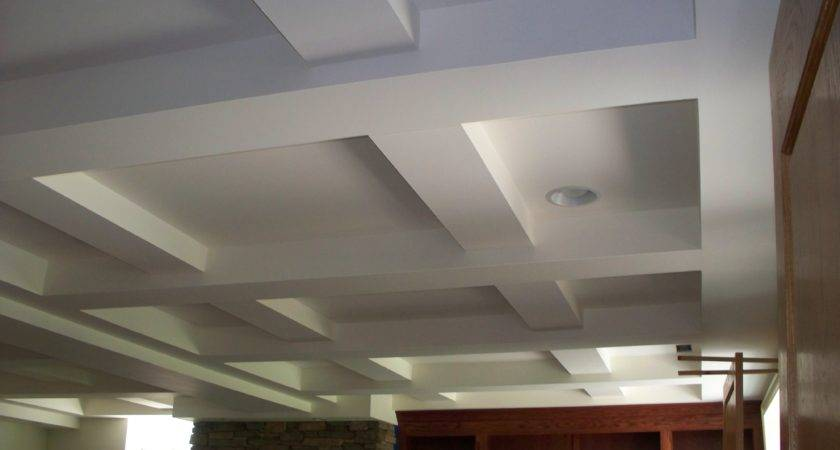 Painted White Color Basement Tray Ceiling Tiles