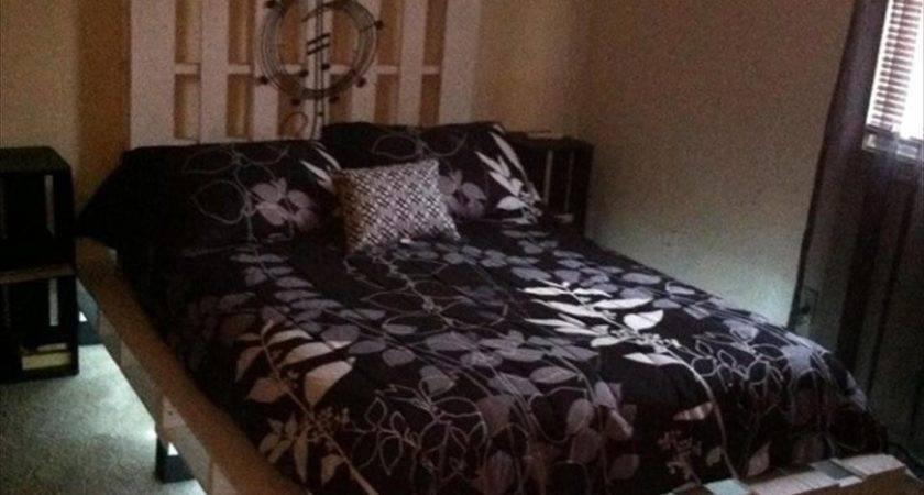 Pallet Bed Lights Drawers