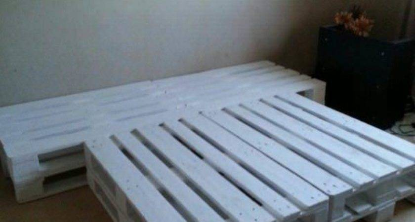 Pallet Bed Made Out Repurposed Wooden Pallets