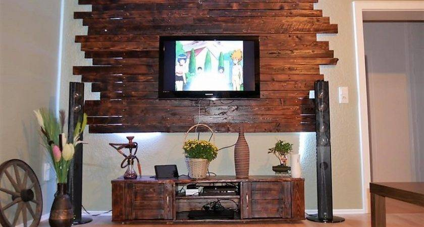 Pallet Media Cabinet Lcd Wall Decor Ideas