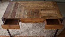 Pallet Wood Desk Metal Legs Two Drawers