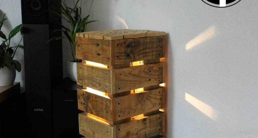 Pallet Wood Side Table Floor Lamp Upcycled Retro