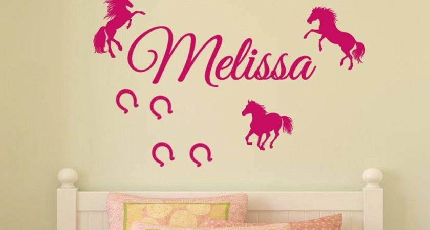 Personalized Name Horses Horseshoes Vinyl Wall Decal