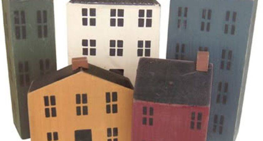 Piece Wood Block Saltbox Houses Village Primitive Shelf