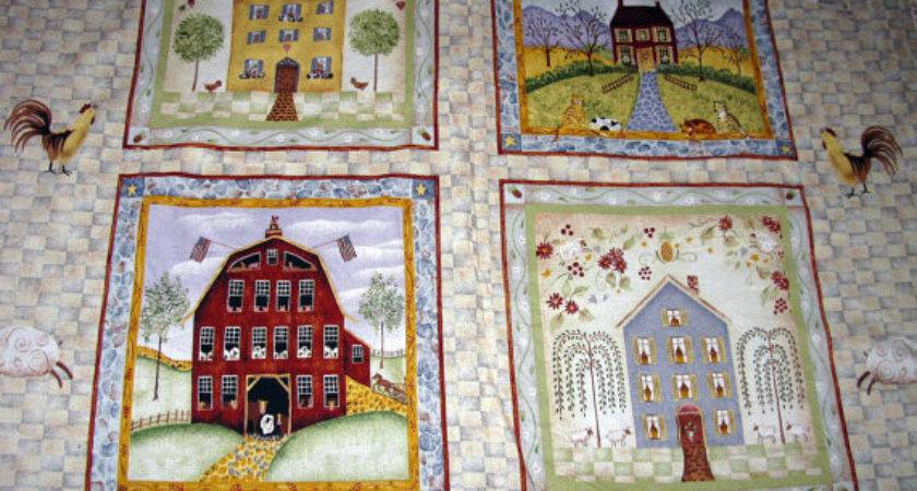 Pillow Panel Fabric Primitive Rustic Folk Art
