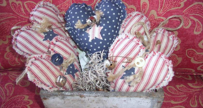 Primitive Bowl Fillers Country Fabric Hearts Gift