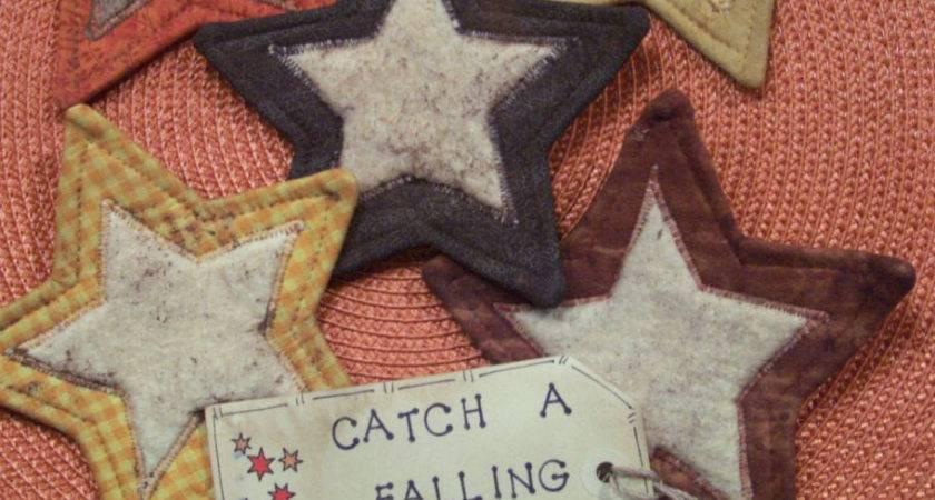 Primitive Country Fall Stars Fabric Coasters Mug Mats Ornies