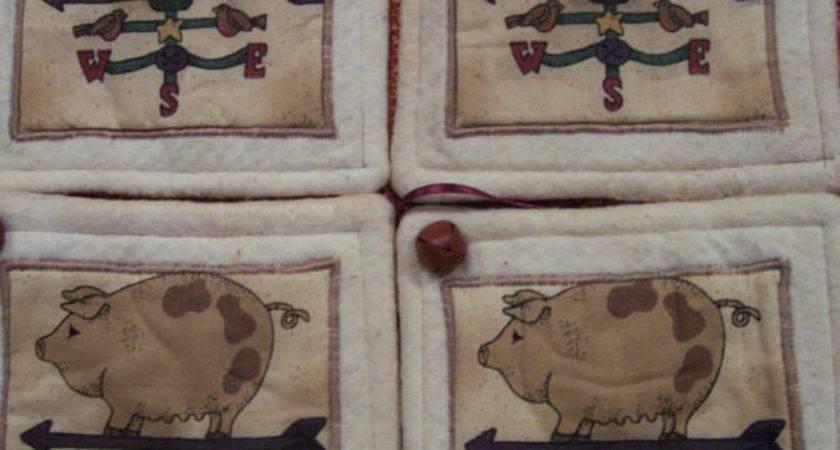Primitive Country Farm Weathervane Pigs Fabric Coasters Mug