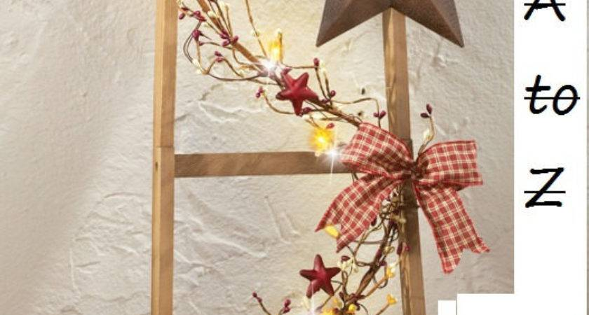 Primitive Country Star Lighted Ladder Decoration Home Decor