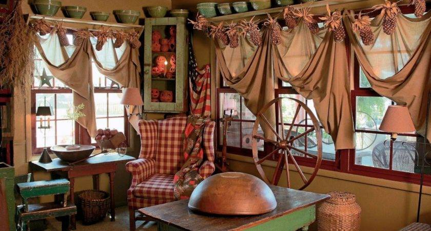 Primitive Curtains Living Room Ideas Valances