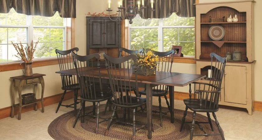 Primitive Dining Table Chairs Set Farmhouse Furniture