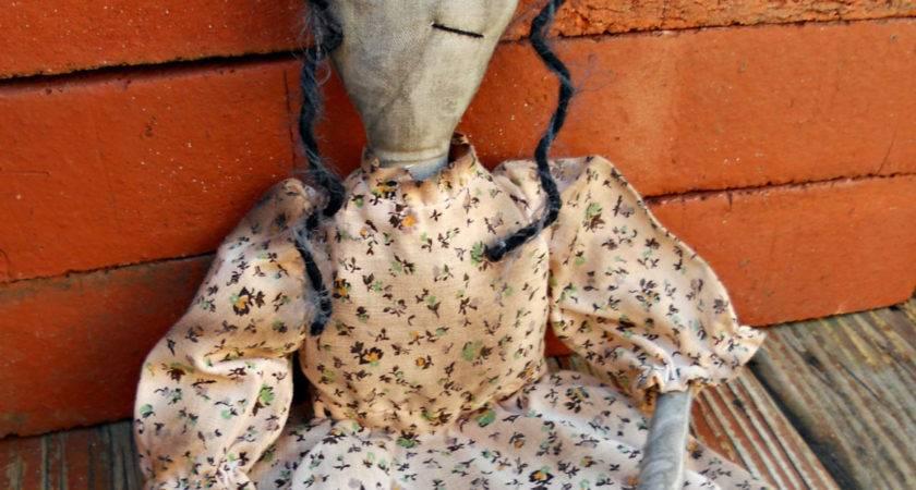 Primitive Doll Black Ooak One Kind Country