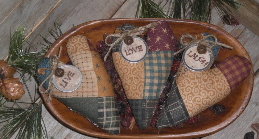 Primitive Fabric Faux Patchwork Rustic Country