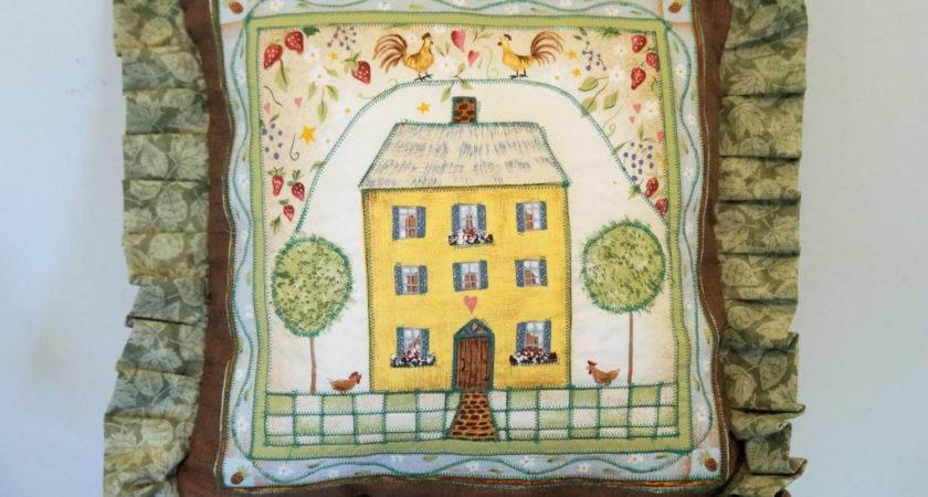 Primitive Folk Art Decorative Pillow Cover Throw