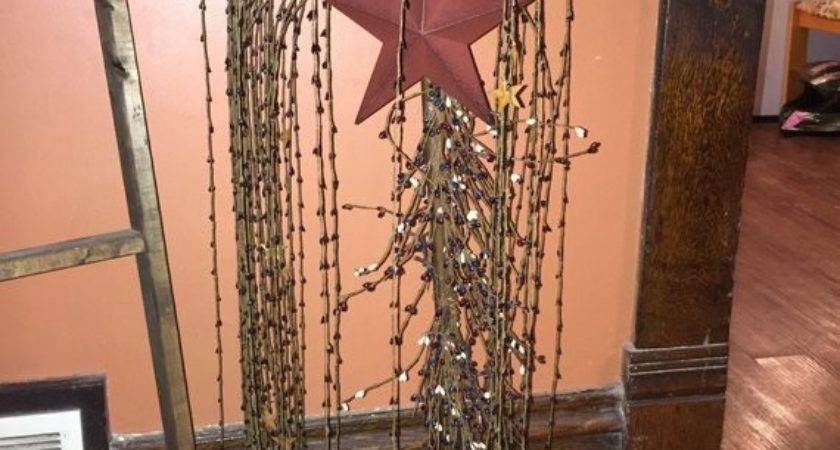 Primitive Pip Berry Tall Lighted Willow Tree