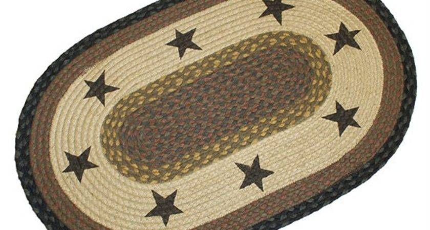 Primitive Rug Black Star Braided Oval Country