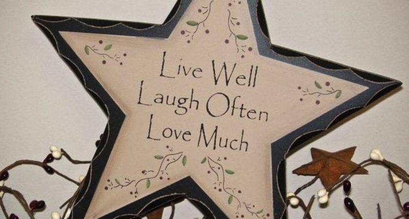 Primitive Rustic Live Laugh Love Wood Star Sign Antique