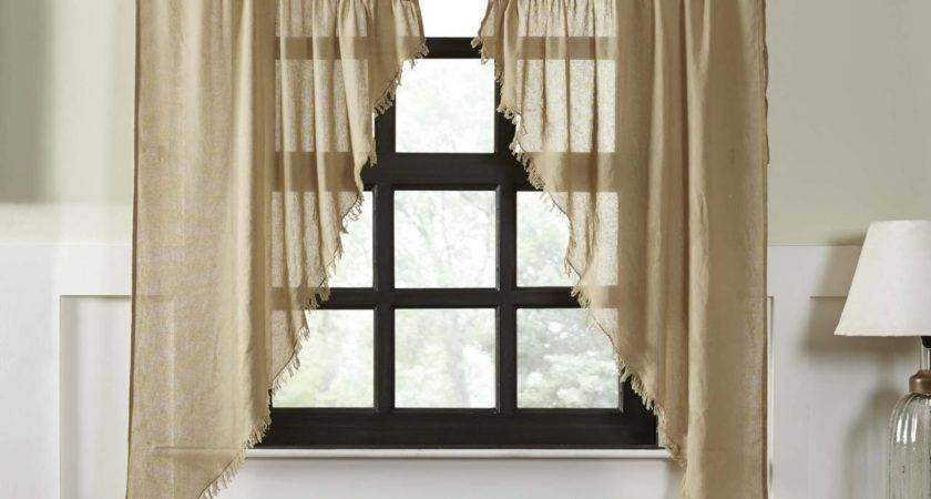 Primitive Tobacco Cloth Prairie Gathered Curtains Khaki