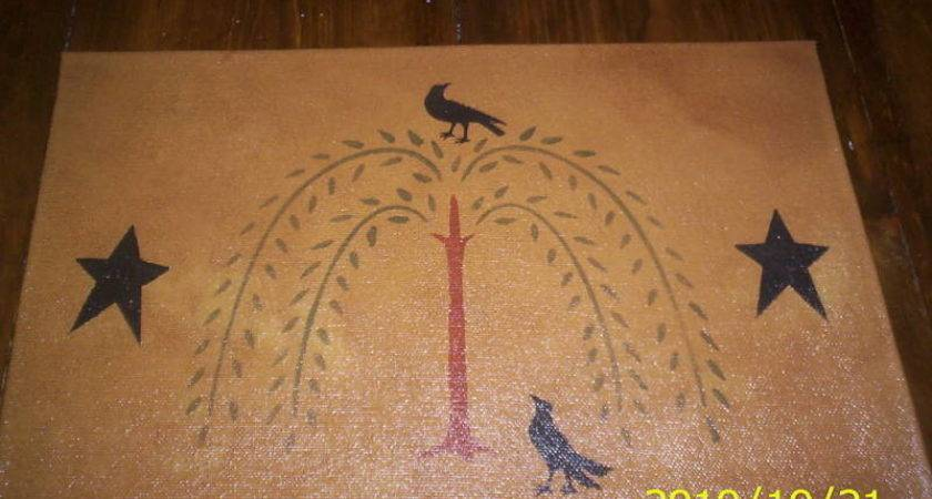 Primitive Willow Tree Crow Placemats Floorcloth Multi