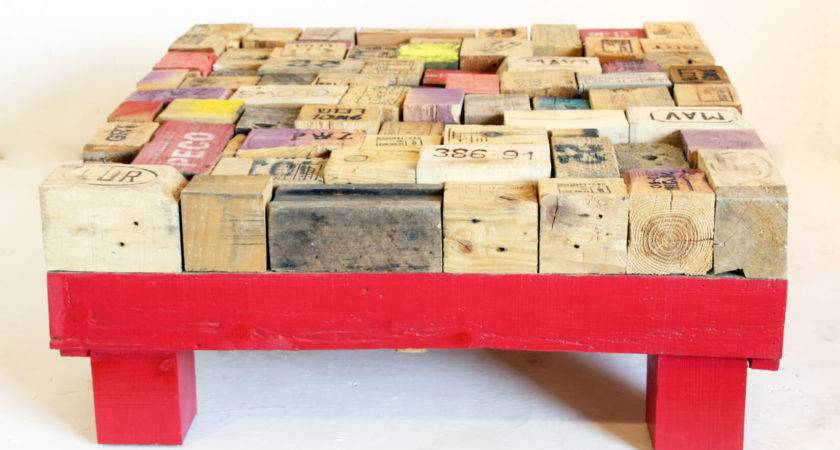 Printed Pallet Blocks Coffee Table Wooden Base Ari