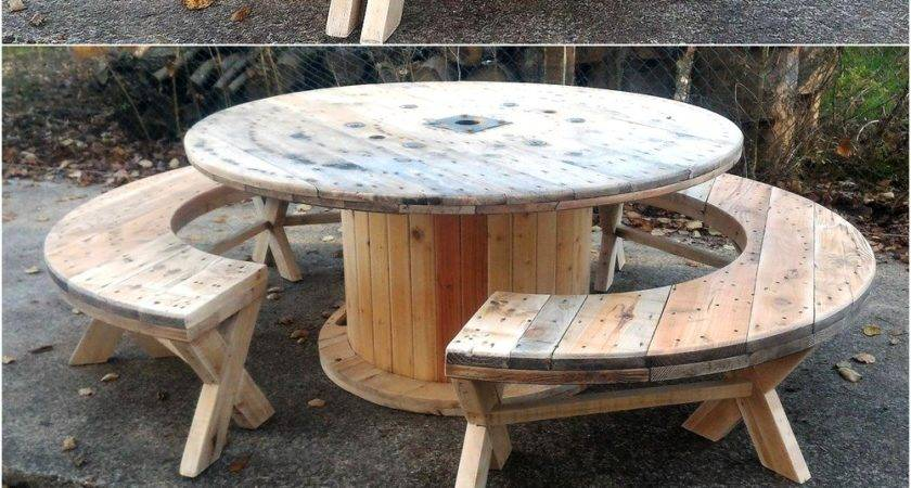 Recycled Pallet Cable Reel Patio Furniture Ideas