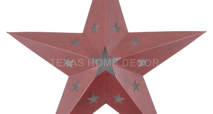 Red Metal Barn Star Punched Stars Western Tin