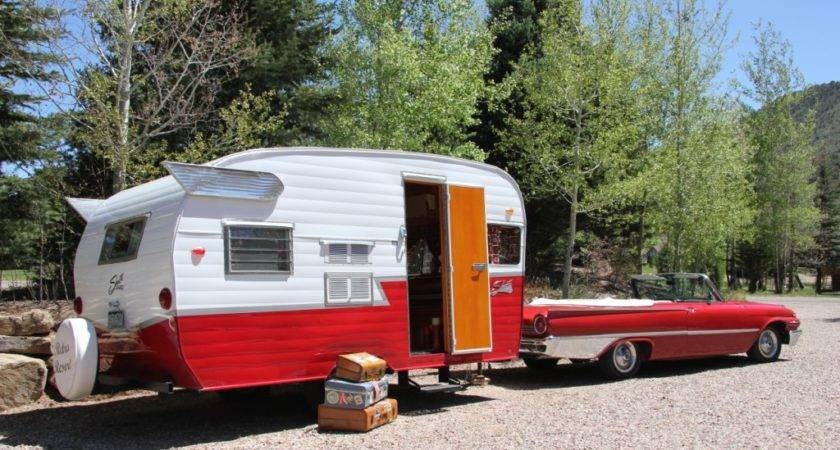 Retro Road Trip Vintage Travel Trailer Towed