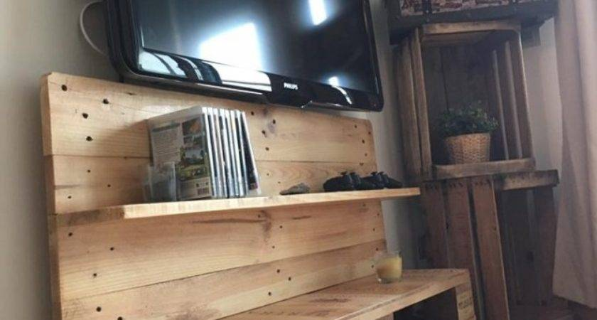 Reused Wood Pallet Stand Shelves