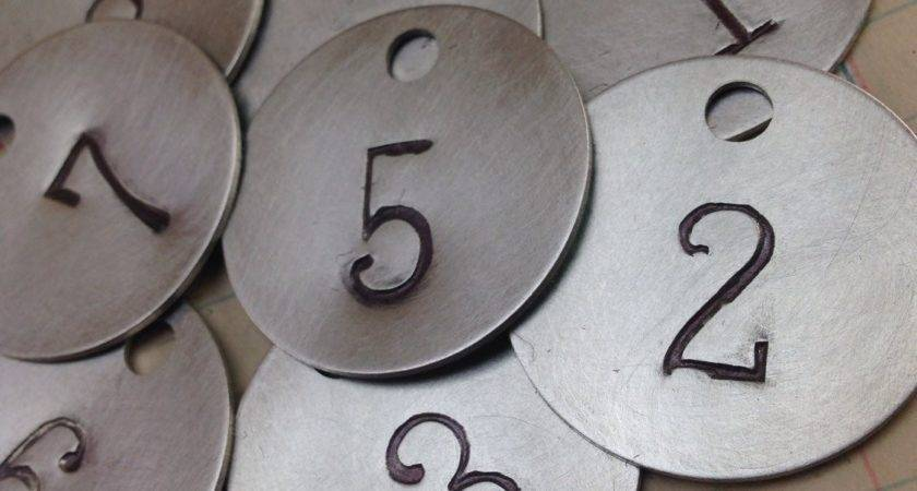 Round Silver Aluminum Numbered Tag Hand Stamped Key