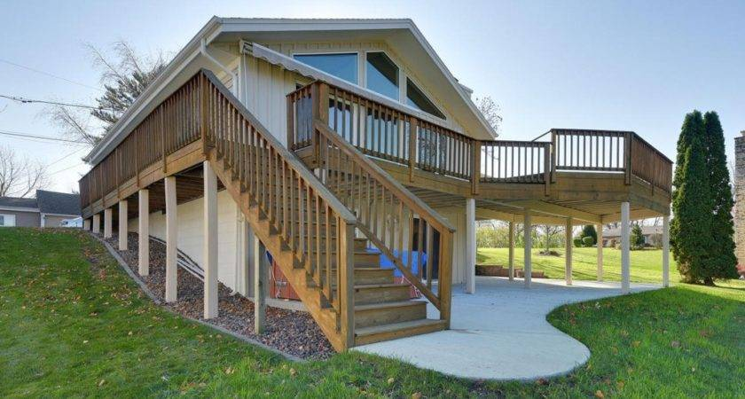 Rustic Deck Exterior Stone Floors Wrap Around Porch