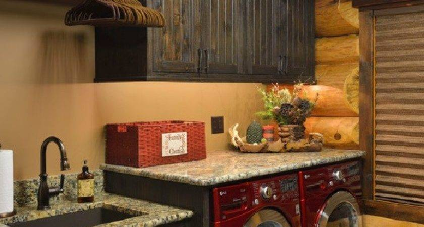 Rustic Laundry Room Decor Natural Cherry Cabinets