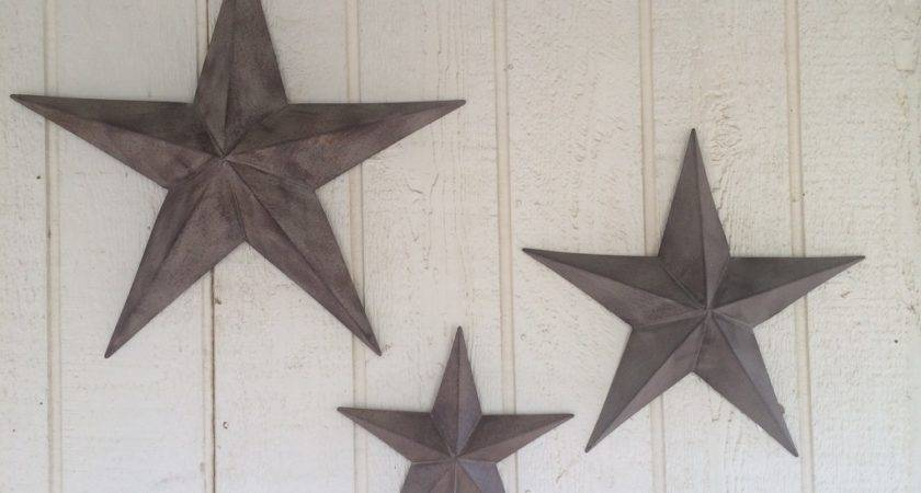 Rustic Metal Star Set Barn Antique Vintage Texas Tin Wall
