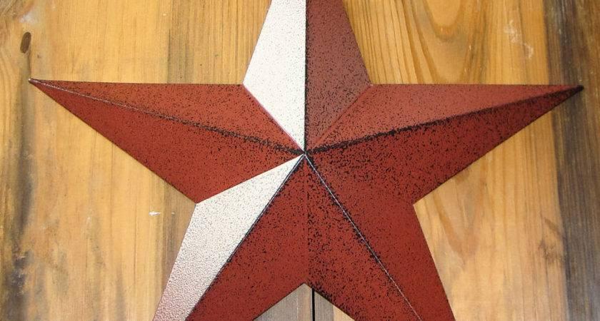 Rustic Primitive Burgundy Tin Barn Star Country Home