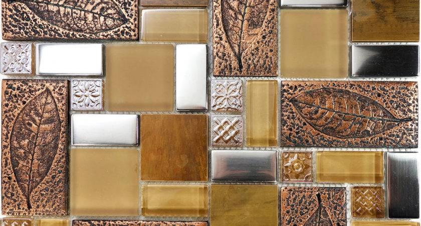 Sample Copper Metallic Leaf Decor Insert Glass Mosaic Tile