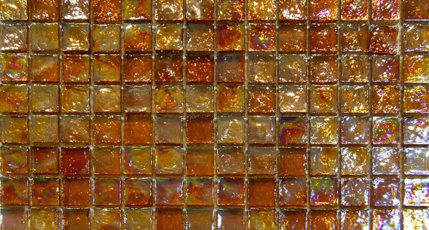 Sample Golden Brown Iridescent Glass Mosaic Tile