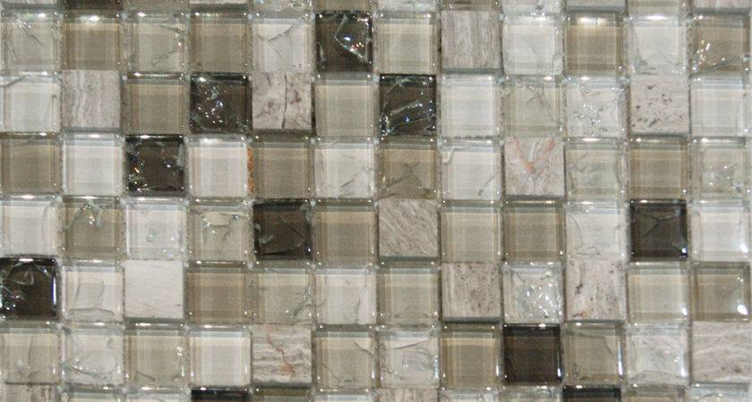Sample Wooden Gray Marble Crackle Glass Mosaic Tile