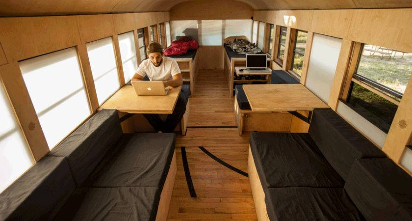 School Bus Converted Into Small Home Architecture Student