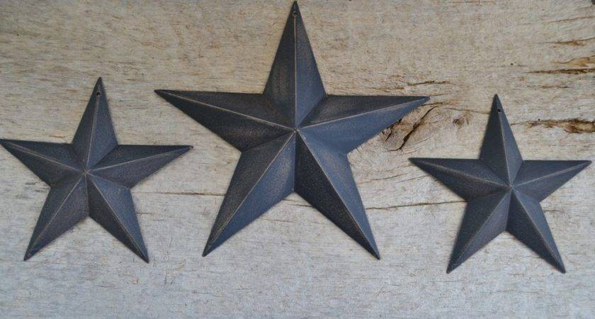 Set Black Barn Stars Metal Tin Primitive