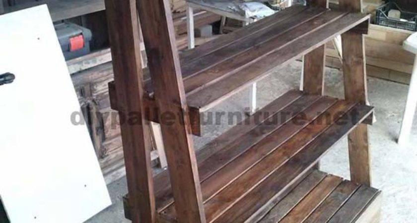 Shelf Made Pallets Step Diy Pallet Furniture